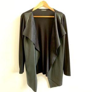 Zara Faux Leather Front Panel Cardigan Sz S